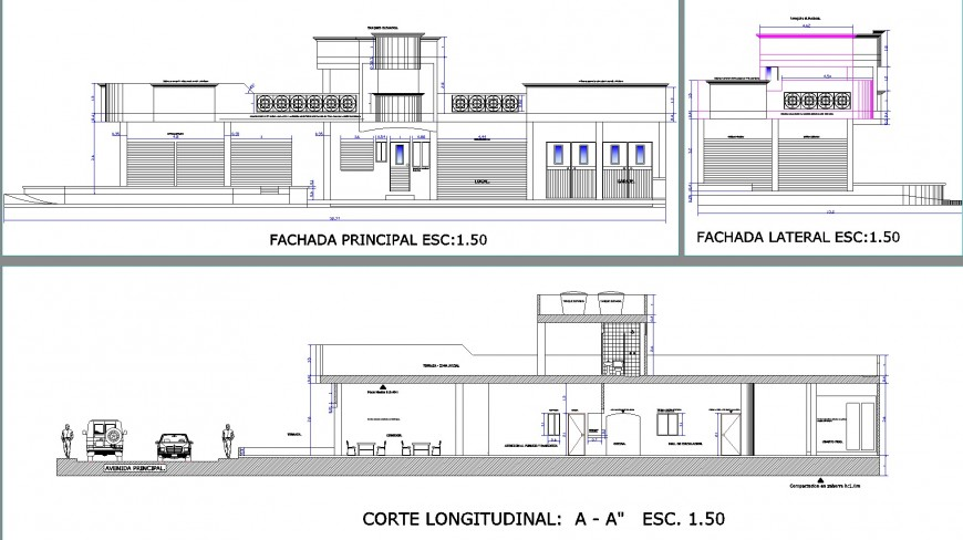 Elevation and section commercial building plan autocad file