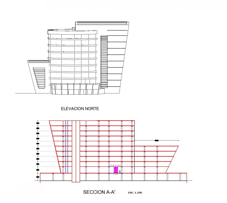 Elevation and section commercial building plan layout file