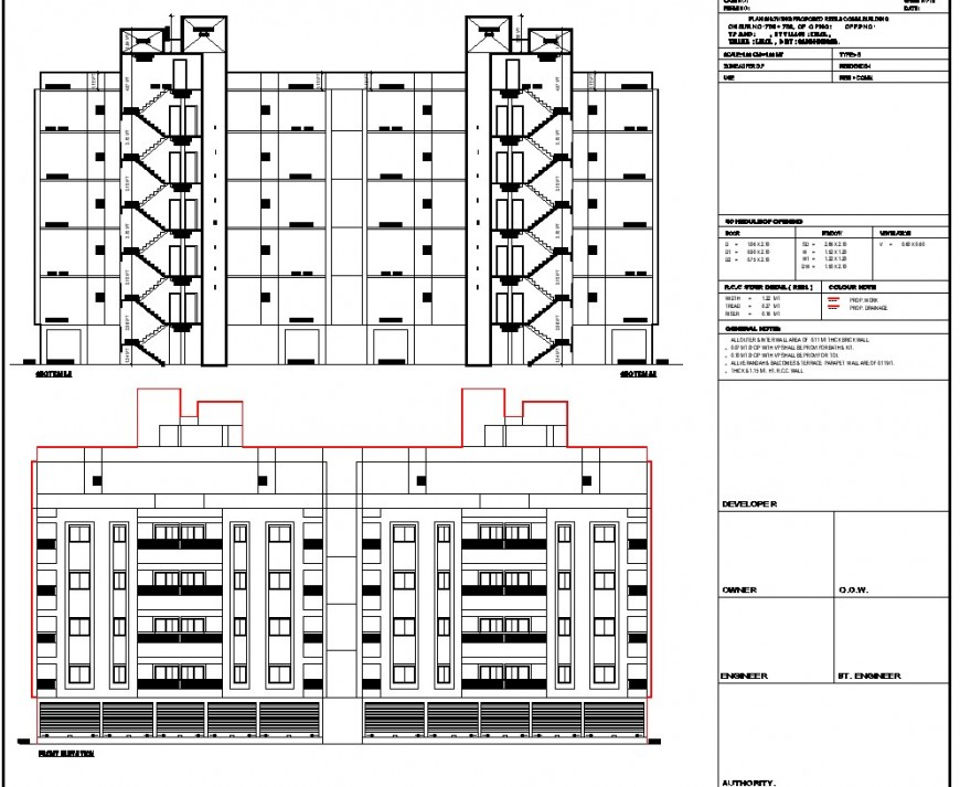 Elevation and section commercial school building plan autocad file