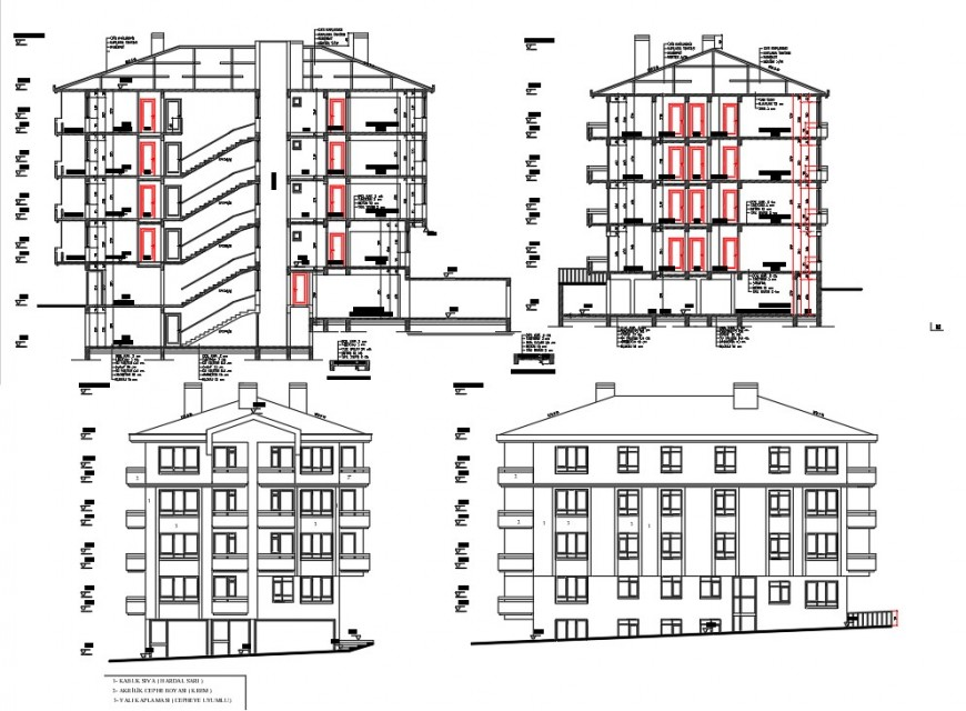 Elevation and section detail high rise building autocad file