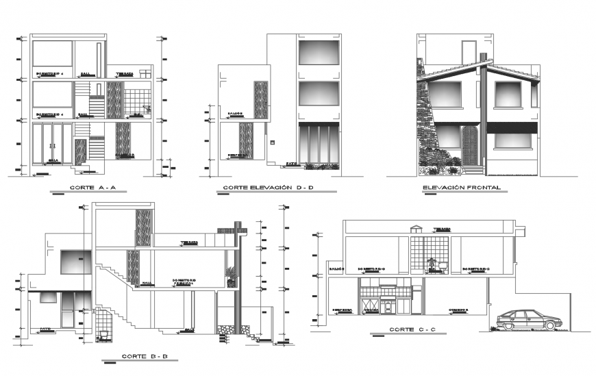 Elevation and section drawing of residential apartment 2d view dwg file