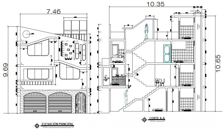 Elevation and section drawings of apartment 2d view dwg file