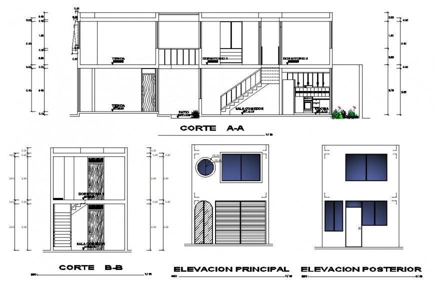 Elevation and section drawings of living apartment 2d view AutoCAD file