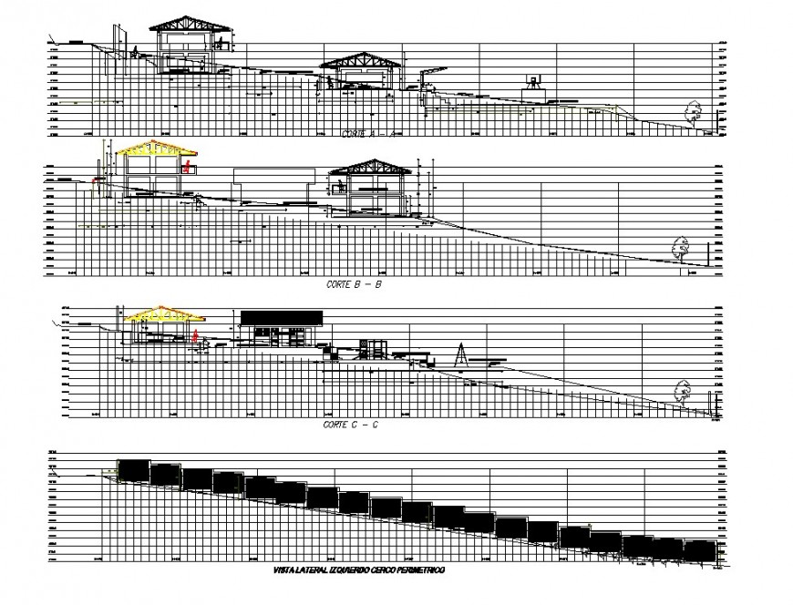 Elevation and section hills house plan autocad file