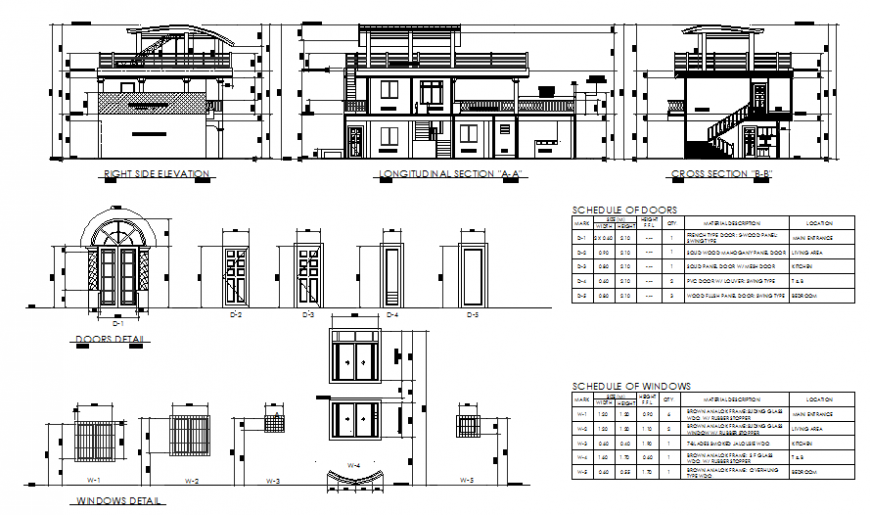 Elevation and section house & door detail autocad file