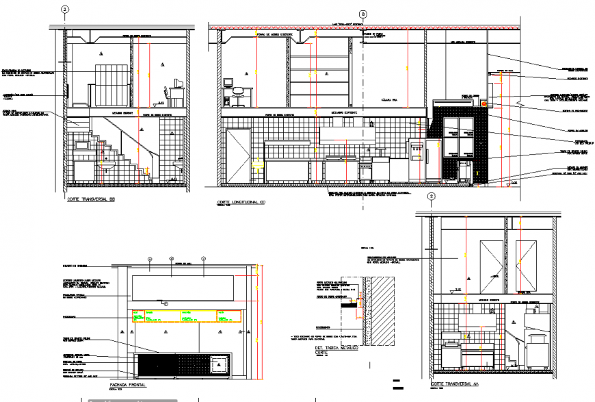 Elevation and section kitchen layout file