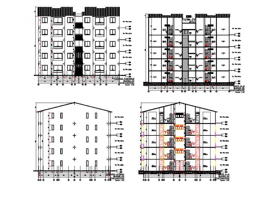 Elevation and section multi house plan autocad file