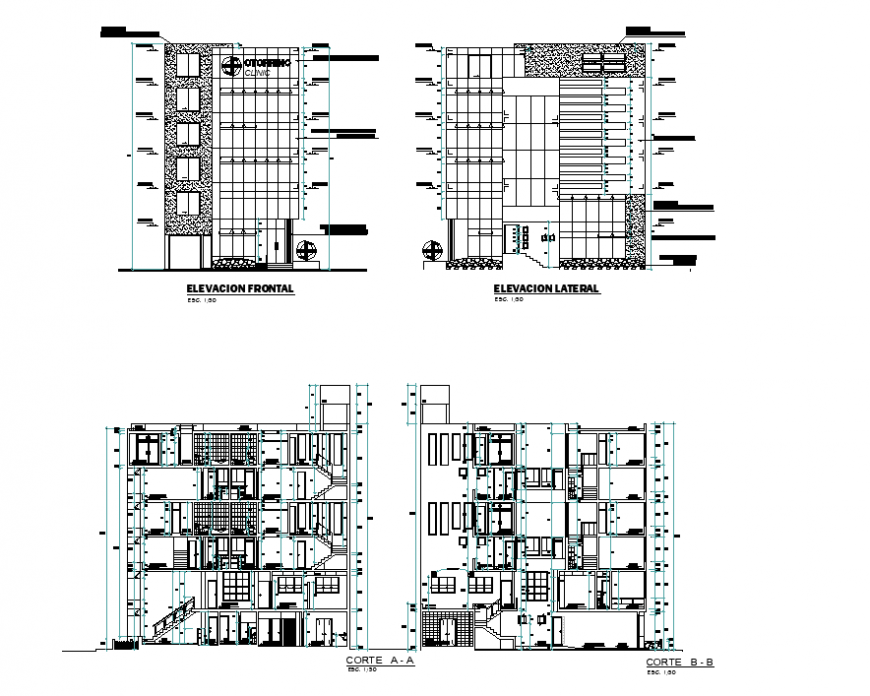 Elevation and section multi story home plan autocad file