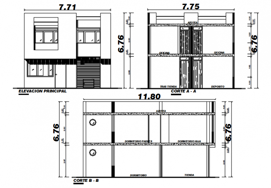 Elevation and section of apartment dwg autocad software file