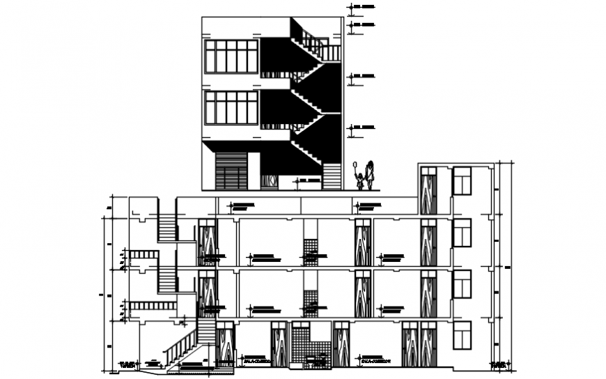 Elevation and section of housing apartment 2d view autocad file