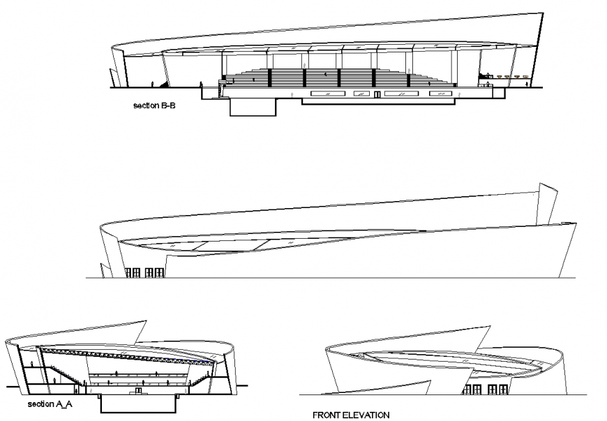 Elevation and section Olympic pool design layout file