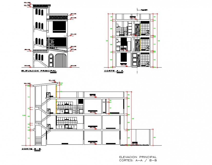 Elevation and section row-house planning detail dwg file