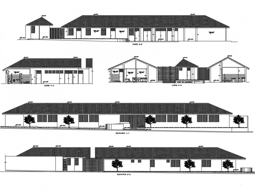 Elevation and section sanitary clinic plan layout file