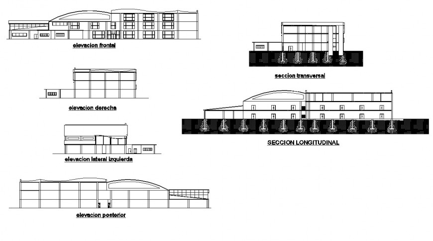 Elevation and section shopping mall layout file