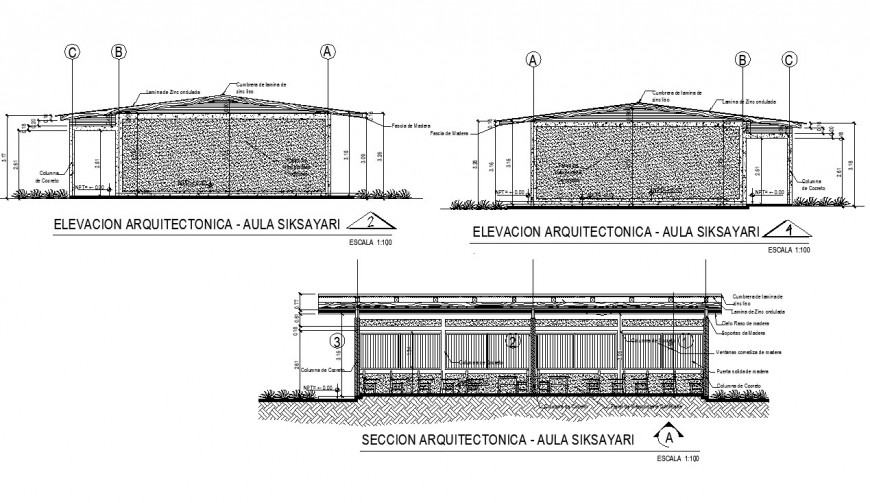 Elevation and section siksayari building plan autocad file