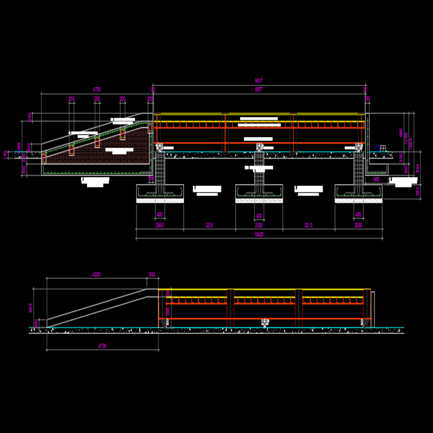 Elevation and section Truck scale autoacd file