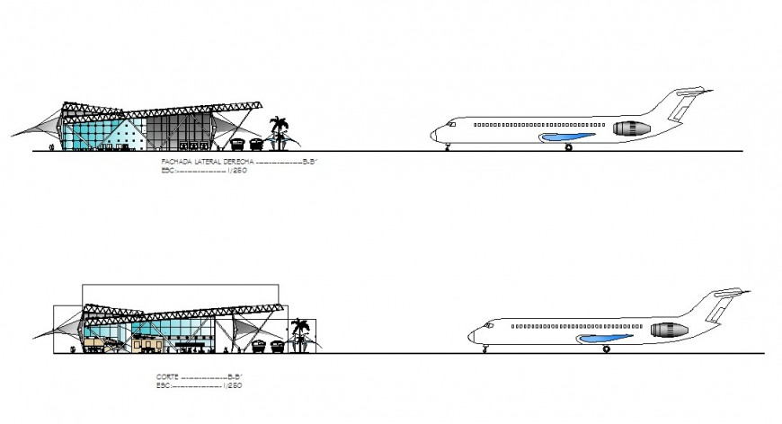 Elevation and section view of airport with airplane in autocad