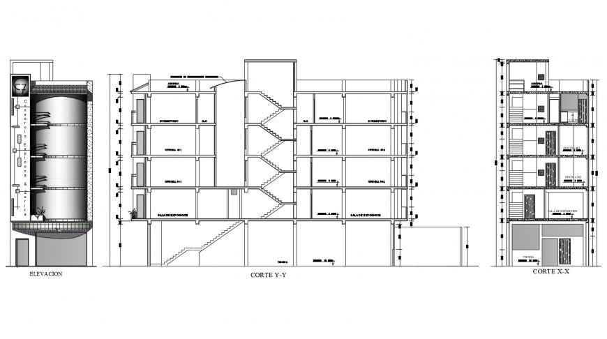 Elevation and section view of apartment in auto cad file