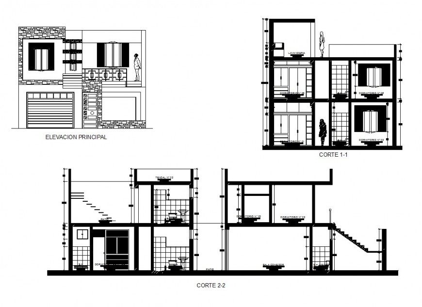 Elevation and section view of residence area in auto cad file
