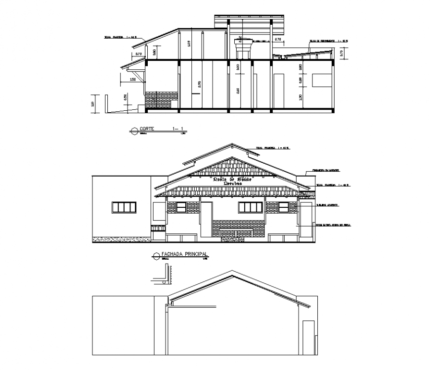 Elevation and sectional design with detail of medical center dwg file