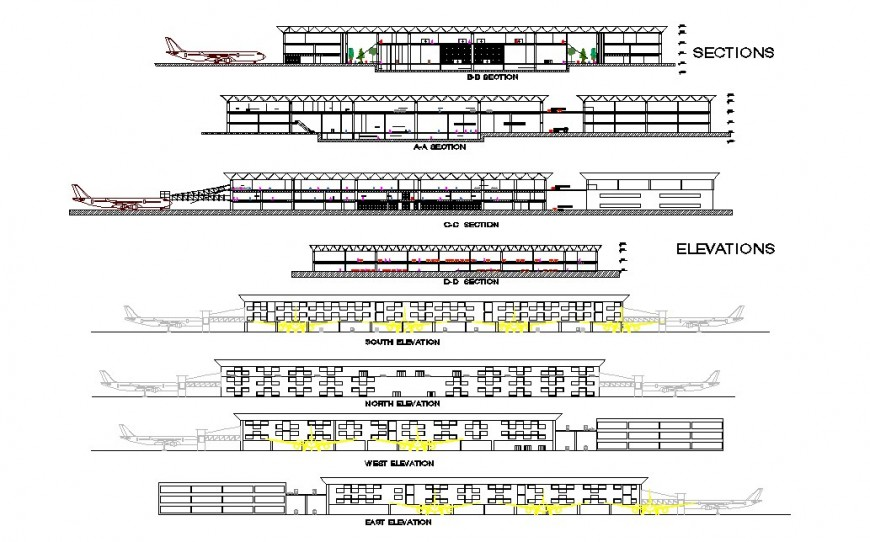 Elevation and sectional detail of airport structure 2d view layout autocad file