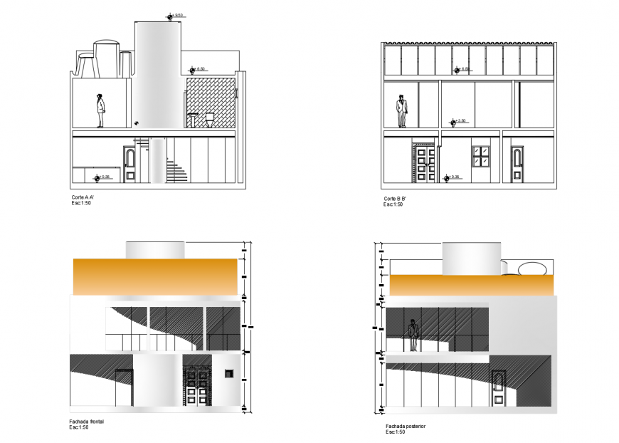 Elevation and sectional detail of apartment autocad file