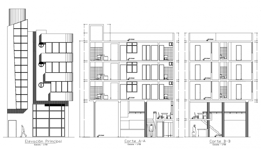 Elevation and sectional detail of apartment dwg file