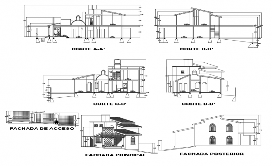 Elevation and sectional detail of bungalow 2d view autocad file