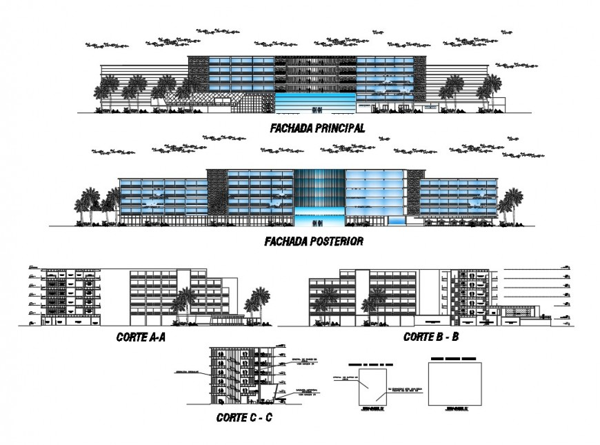Elevation and sectional detail of commerce building 2d view layout file in dwg format