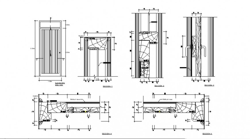 Elevation and sectional detail of door detail 2d view CAD block autocad file