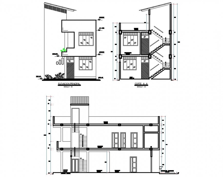 Elevation and sectional detail of house layout file in autocad format