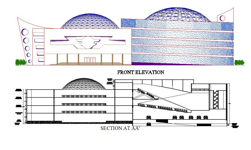 Elevation and sectional detail of multiplex theater building 2d view CAD block autocad file