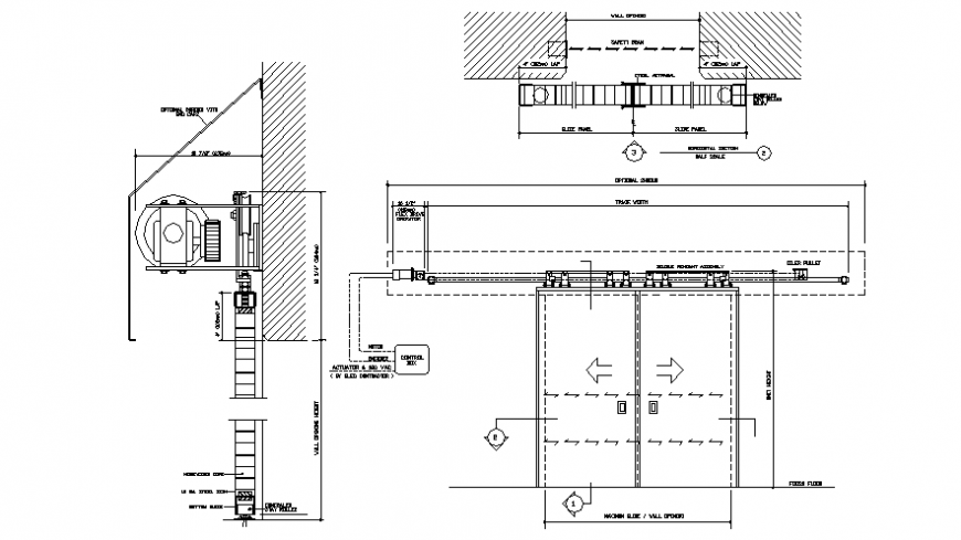 Elevation and sectional details of elevator autocad file