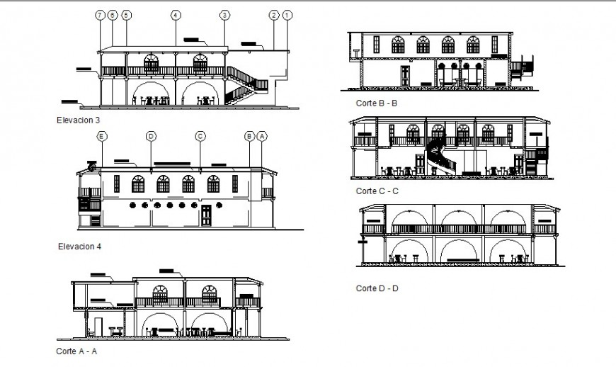 Elevation and sectional details of hotel building dwg file
