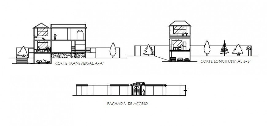 Elevation and sectional drawings details of apartment building dwg file