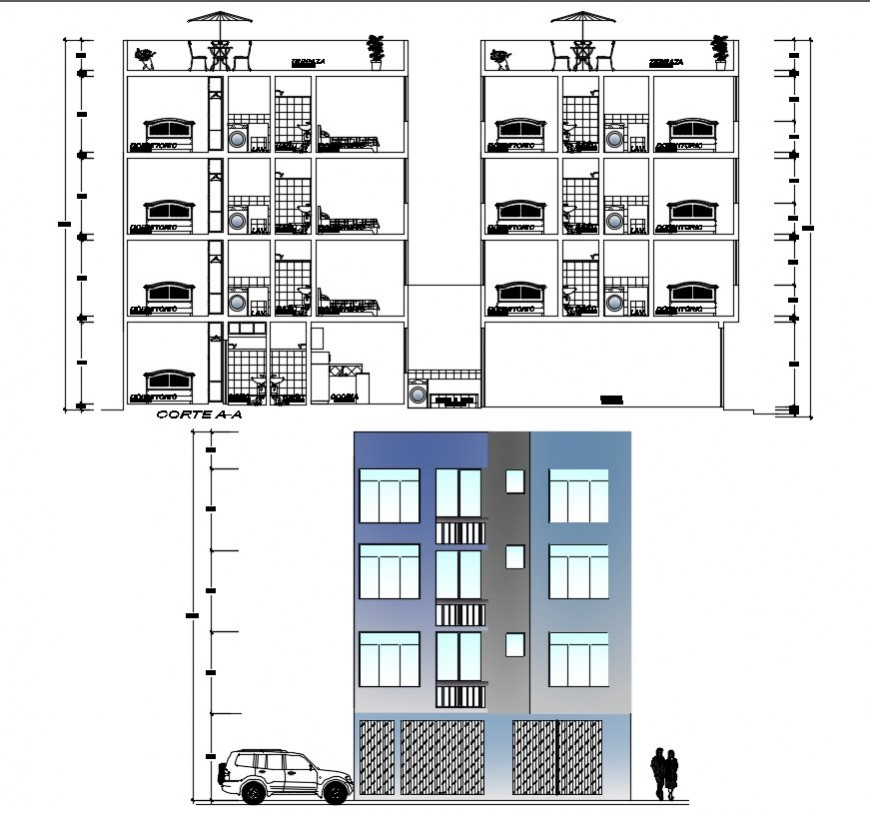 Elevation and sectional drawings of apartment 2d view autocad file
