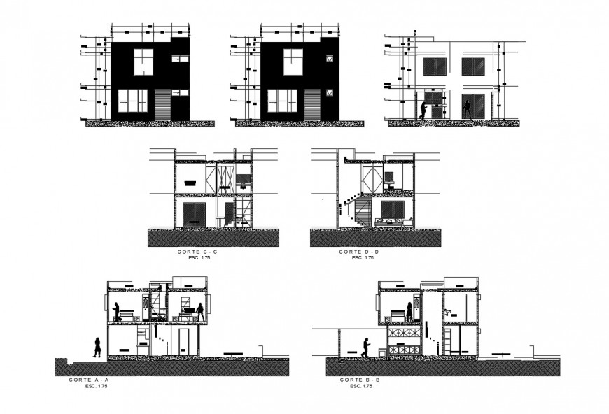 Elevation and sectional of apartment detail 2d view layout file in dwg format