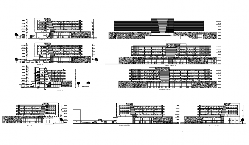Elevation and sectional view of  different axis of hotel in auto cad software