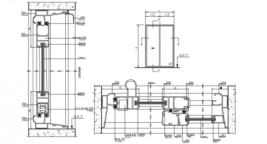 Elevation and sections of Door blocks drawings 2d view  autocad software file