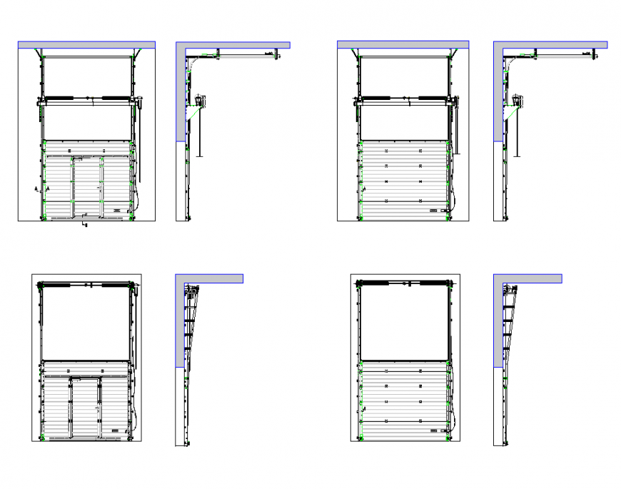 Elevation and side view of different design of industrial sectional door dwg file