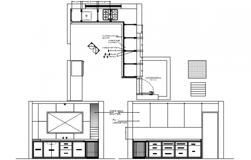 Elevation and top view of kitchen