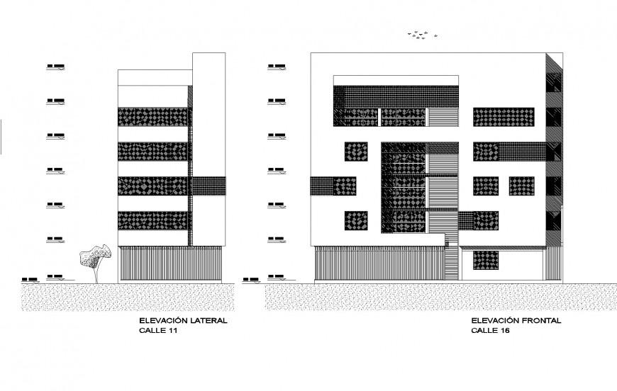 Elevation apartment flat plan autocad file