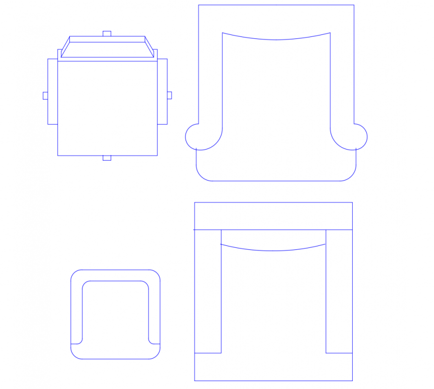 Elevation blocks of chair units 2d view CAD furniture autocad file