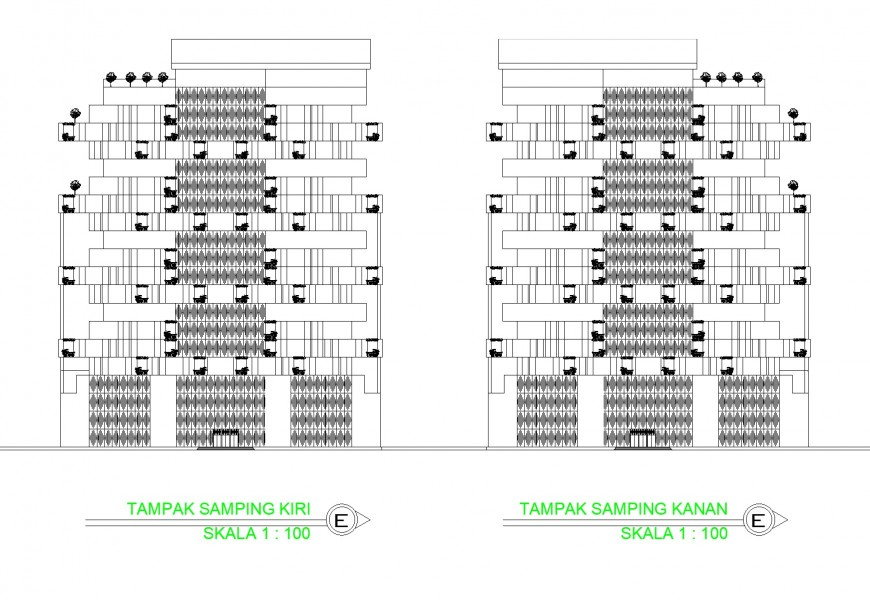 Elevation business hub commercial building plan