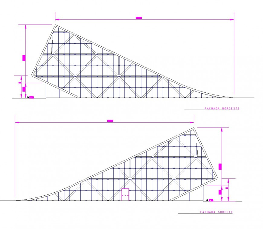 Elevation business hub plan dwg file