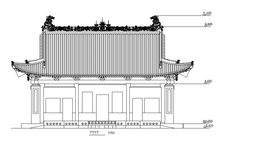 Elevation Chinese Architecture CAD Drawings