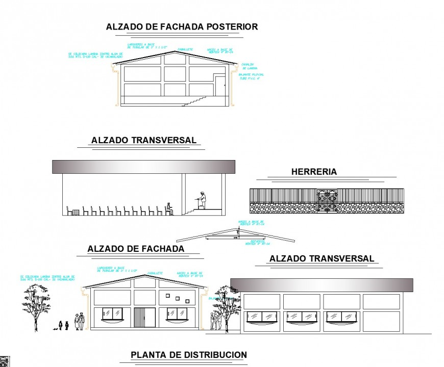Elevation commercial building plan layout file