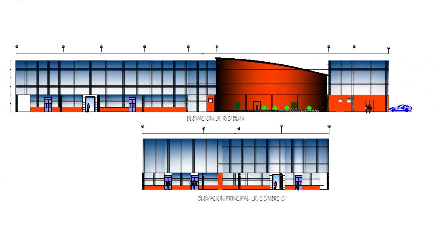 Elevation cultural center autocad file
