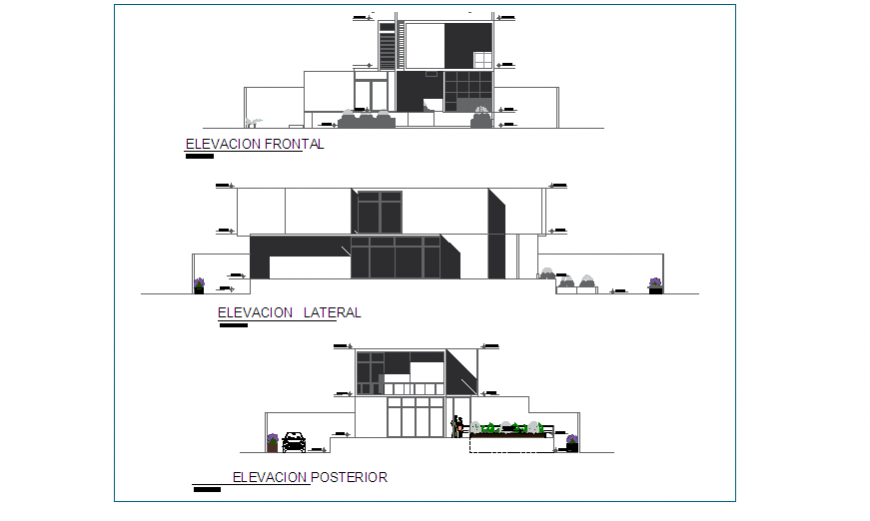 Elevation design drawing of living place design