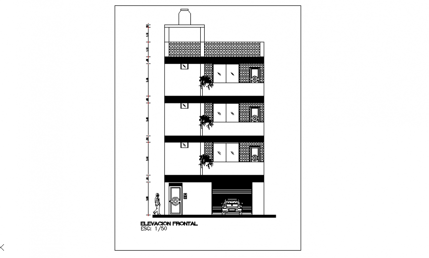 Elevation design drawing of multi familiary house-location design drawing